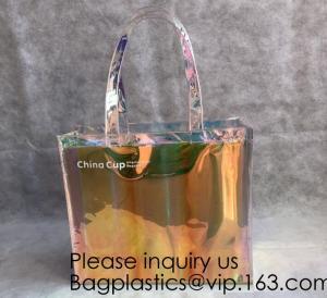 Best HOLOGRAPHIC NEON TOTE PVC BAG,VINYL SHOPPING SHOPPER,TOILETRY BIKINI SWIMWEAR BEACHWEAR WOMAN BAG wholesale
