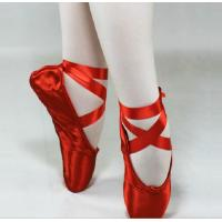 Best Red and pink colord satin dance ballet pointe shoes with child and adult size wholesale
