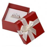 Best White Ribbon Jewelry Paper Boxes Red Printing Eco Friendly Material For Ring Gifts wholesale