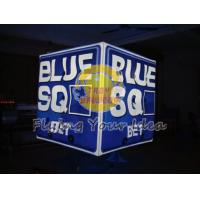 Best Blue Inflatable Advertising Lighting Cube Balloon with 1 pcs energy saving bulb for Parade wholesale