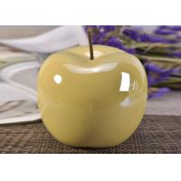 Best Decorative Ceramic Wedding Table Centerpieces Yellow Glazed Apple Shaped wholesale