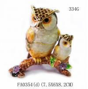 Best Mun and baby owl bird jewelry box enamel owl trinket jewelry owl decorative box  trinket box wholesale