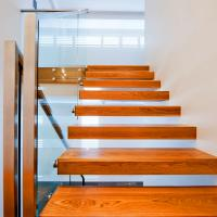 Cheap Contemporary Floating Staircase with Wood Tread Invisible Stringer Straight for sale
