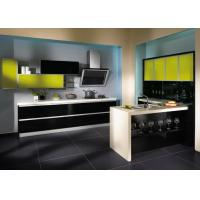 American Style Lacquer Kitchen Cabinets Yellow Beige With Moisture Proof Board