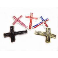 Cheap Customized Red / Black Alloy Charm Sideway Crystal Pave Cross Pendant  27 * 40mm for sale