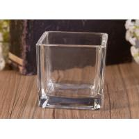 Best Mini Square Cube Shaped Glass Candle Holder Clear Replacement Glass Candle Vessel wholesale