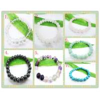 Best Multicolor Round Agate Stone Bracelet / Semi Precious Gem Jewelry for Men,Wowen,Children  wholesale