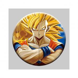 Best Round 5x5cm 3D Flip Lenticular Anime Pins With Goku wholesale