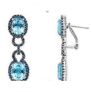 Best Blue topaz & Blue Sapphire earrings wholesale