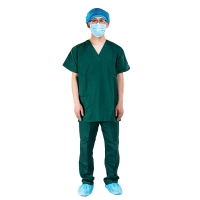 China Hospital operating room short sleeve isolation clothes brush hand clothes wash clothes set special  green cotton suit on sale