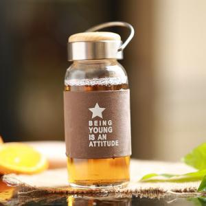 Best Varies Colors Handle Mini Silicone Sleeve 280ml Baby Glass Water Bottle Cute Heat Resistance wholesale