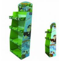 Best 4 Tier Green Point Of Sale Corrugated Cardboard Display Stands , Easily Assembled / Disassembled For Books wholesale