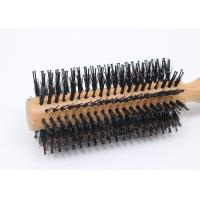 Best Natual Round Boar Bristle Brush Durable For Reducing Hairloss , Anti Static wholesale