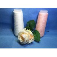 China Bleaching White Pink 100 Polyester Spun Yarn With Yizheng Fiber on sale