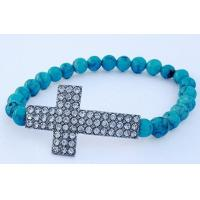 Cheap Fancy Plating OEM Sideways Turquoise Bead Cross Bracelet Jewelry Making for sale