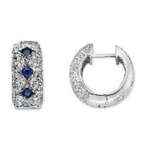 Best Blue Sapphire and Diamond 14K White Gold Earrings wholesale