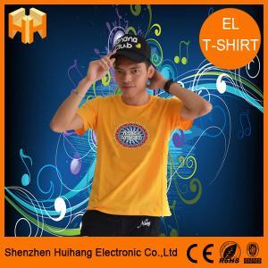 China El sound active t-shirt,el flashing t-shirt,el switch t-shirt,unique flashing t-shirt on sale