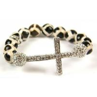 Cheap Customized Stone Beaded Silver Sideways Cross Bracelet Charm Handmade Jewelry for sale