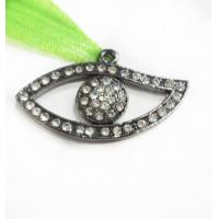 Cheap Alloy Crystal / Gun Metal Evil Eye Charm Pendant Jewelry Connectors OEM for sale