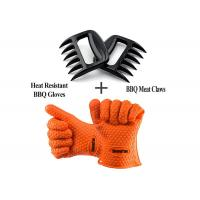 Best Durable Heat Resistant Personalised BBQ Silicone Gloves With Shredder Handlers Fork wholesale