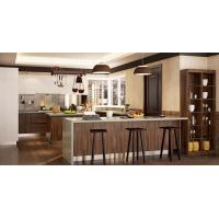 Wood Grain White Color Pvc Kitchen Furniture Integrated U - Shaped With Island