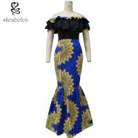 Best Fishtail African Print Skirts With Peplum Top , African Print Wedding Dresses wholesale
