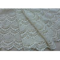 Best Vintage French Crocheted Cotton Lace Fabric Scalloped Edge Hollow Out Ivory Dots wholesale