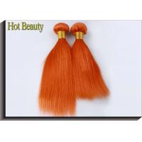 Buy cheap Orange Virgin Human Hair Extensions 12 Inch Double Stitch Weft Single Drawn from wholesalers