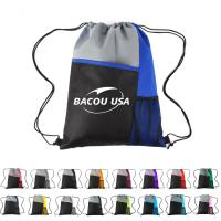 Best Mesh Pocket Tricolored Drawstring Sports Pack Mesh Sport Drawstring Backpack Oxford Fabric Drawstring Bag wholesale