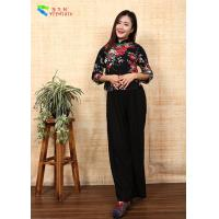 Best Black Asian Tradition Chinese Cheongsam Top , Traditional Linen Blouse Top With Flower wholesale
