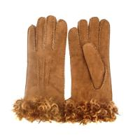 Best wholesale soft Spanish merino sheepskin double face gloves with lamb wool cuff wholesale