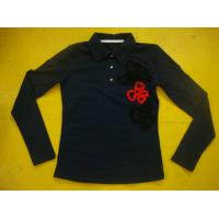 Best Cotton Spandex Bows Front Girls Stylish Top Rib Neck Long Sleeve Polo Shirts Kids wholesale