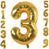 Best Gold Aluminum Foil Number 0-9 Balloons for Wedding and Party Decoration wholesale