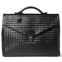 Best Western Style Woven Nappa Leather Mens Leather Briefcase Bag , Inside Laptop Pocket wholesale