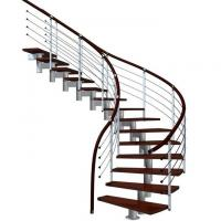 Best Prefabricated steel curved staircase with tempered glass balustrade wholesale