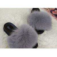 Cheap Light Grey Genuine Fur Furry House Slippers Soft For Indoor / Ourdoor for sale