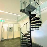 Best Customized Tempered Glass Tread Spiral Staircase with Glass Railing wholesale
