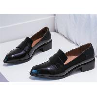 Best England Style Womens Black Patent Leather Shoes , Comfortable Slip On Shoes wholesale