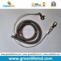 Best Gray Stainless Wire Reinforced Coil Lanyard W/Quick Release Buckles wholesale