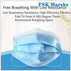 Best Block Coronavirus 3 Ply Disposable Face Mask Aseptic Melt Blown Cloth Blue Mask wholesale