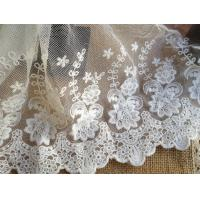 Best White Embroidery Flower Cotton Nylon Mesh Lace Fabric 6.29'' Width For Garment wholesale