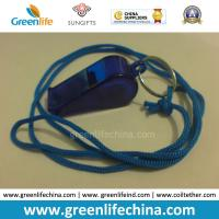 Best OEM Wholesale Custom Translucent Dark Blue Plastic Sport Whistle with Key Ring&Round Cord wholesale