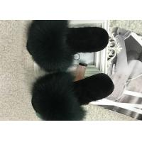 Cheap Winter Women Plush Real Fox Fur Slippers Anti Slip With EVA Rubber Sole for sale