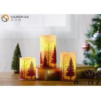 Best S/3 Glittering Christmas Tree Decorative Candles LED Christmas Pillar Candles wholesale