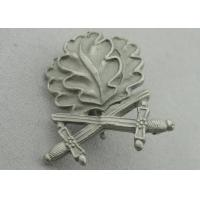 Best 3D Leaves Shape Zinc Alloy Souvenir Badges, Memorial Badge with Cross Sword with Misty Nickel Plating wholesale