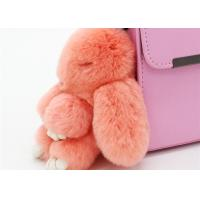 Cheap Handmade 13cm Fluffy Rabbit Bag Charm , Plush Bunny Handbag Charms Keyrings for sale