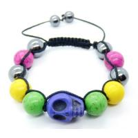 Cheap 10mm Mix Coolor Turquoise Bracelet, Skull Bracelet, Semi Precious Gem Jewelry for sale