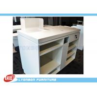 White OEM MDF Wooden Shop Cash Counter Paint Finished , Retail Desk Counter