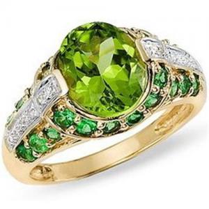 Best Peridot, Tsavorite and Diamond 14K Gold Ring wholesale