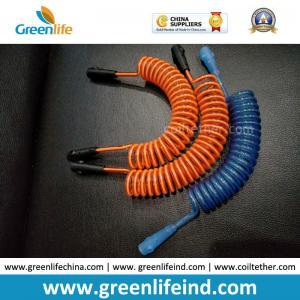 Best Custom Orange/Blue Anti-lost Spring Lanyard Semi-finished Tethers w/Connectors wholesale